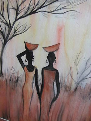 Ladies Walking In The Fields In Kenya Poster