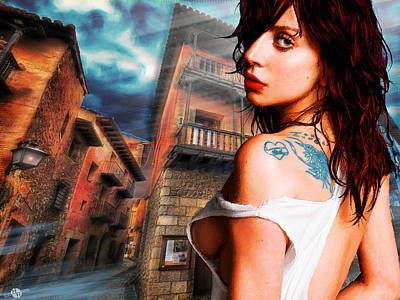 Lady Gaga And Street Blue Sky Poster by Tony Rubino