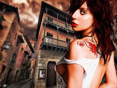 Lady Gaga And Street Dark Sky Poster by Tony Rubino