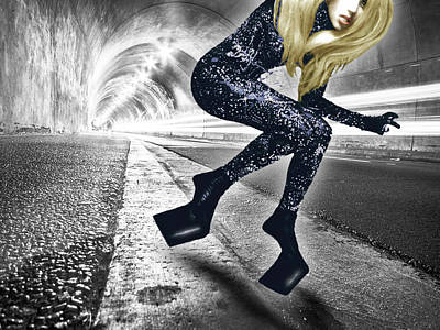 Lady Gaga In City Tunnel Poster by Tony Rubino
