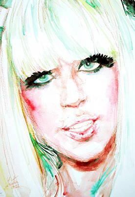 Lady Gaga - Watercolor Portrait Poster by Fabrizio Cassetta