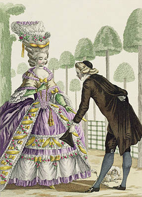 Lady In A Lilac Dress Promenades Poster by Pierre Thomas Le Clerc