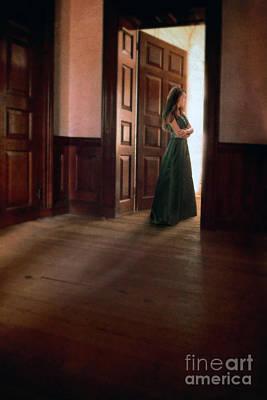 Lady In Green Gown In Doorway Poster by Jill Battaglia