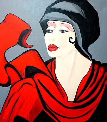 Lady In Red  Art Deco Poster