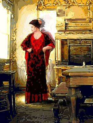 Lady In Red Prints Posters Poster by Larry Lamb