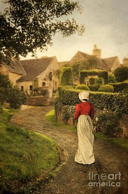 Lady In Regency Dress Walking Poster by Jill Battaglia