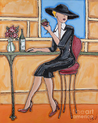 Lady In Waiting With Wine Poster