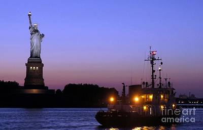 Poster featuring the photograph Lady Liberty At Dusk by Lilliana Mendez