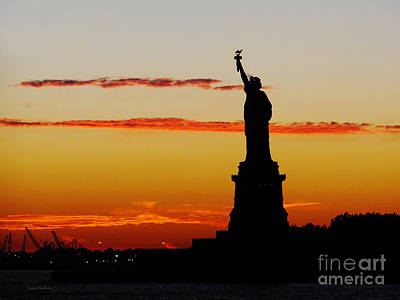 Poster featuring the photograph Lady Liberty At Sunset by Susan Wiedmann