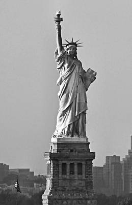 Lady Liberty Black And White Poster