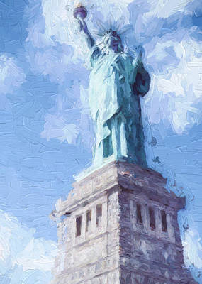 Poster featuring the painting Lady Liberty by Ike Krieger