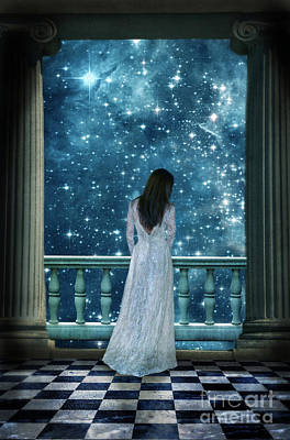 Lady On Balcony At Night Poster
