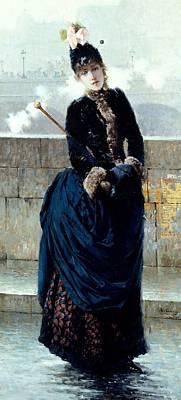 Lady On Bridge In Paris Poster