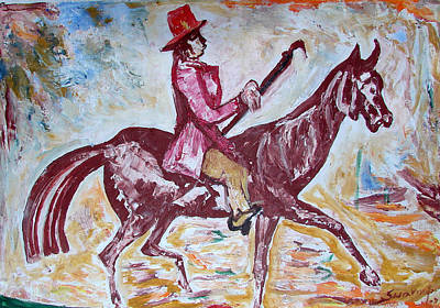 Poster featuring the painting Lady On Horse by Anand Swaroop Manchiraju