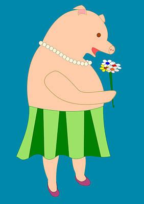 Lady Pig Smelling Flower Poster