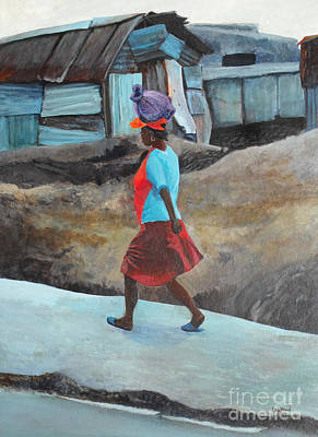 Lady Walking - Port -au- Prince Poster