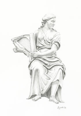 Poster featuring the drawing Lady With Harp II by Elizabeth Lock