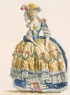 Ladys Elaborate Ball Gown, Engraved Poster by Augustin de Saint-Aubin