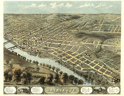 Lafayette Indiana 1868 Map Poster by Stephen Stookey