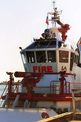 Lafd Fire Boat 2 San Pedro Ca Poster by Thomas Woolworth
