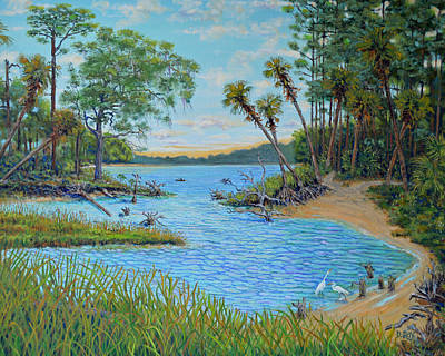 Poster featuring the painting Lagoon At Hunting Island 2 by Dwain Ray