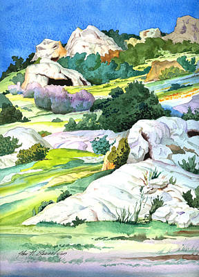 Poster featuring the painting Laguna Canyon Rocks by John Norman Stewart