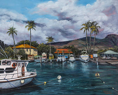 Poster featuring the painting Lahaina Harbor by Darice Machel McGuire