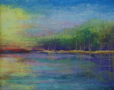 Lake At Sundown Poster by Carol Berning