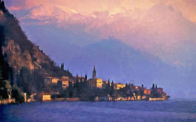Poster featuring the painting Lake Como Italy by Douglas MooreZart