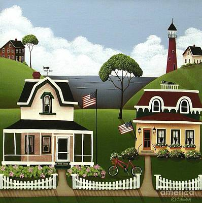 Lake Cottages Poster by Catherine Holman