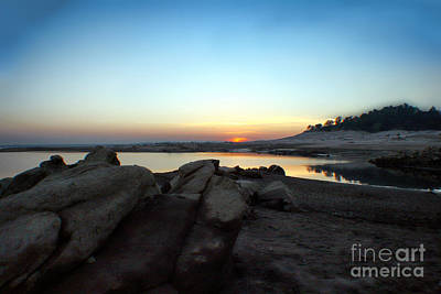 Lake Folsom California Rocky Sunset Poster by Polly Peacock