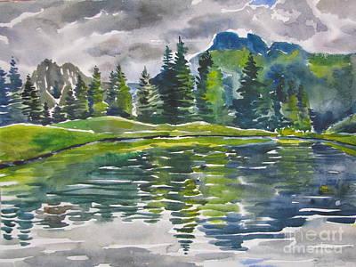 Lake In The Mountains Poster by Anna Lobovikov-Katz
