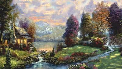 Lake Land Thomas Kinkade Look-a-like Poster by Jessie J De La Portillo