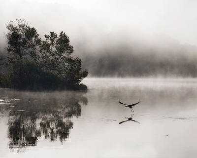 Lake Logan Fog And Heron - Flight Poster