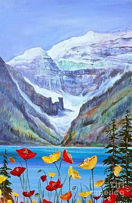 Lake Louise Poppies Poster