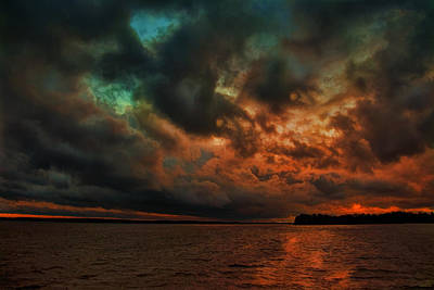 Lake Murray Fire Sky Poster by Steven Richardson