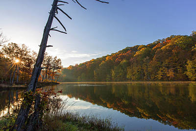 Lake Ogle In Autumn In Brown County Poster by Chuck Haney