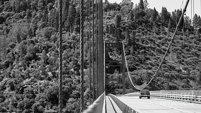Lake Oroville Bridge Black And White Poster