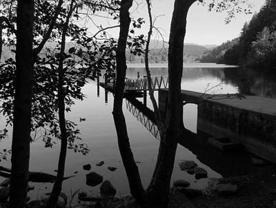 Lake Padden Reflection In Black And White Poster by Karen Molenaar Terrell