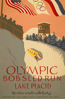 Poster featuring the painting Lake Placid  Bobsled Olyimics by American Classic Art