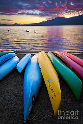 Lake Quinault Kayaks Poster by Inge Johnsson