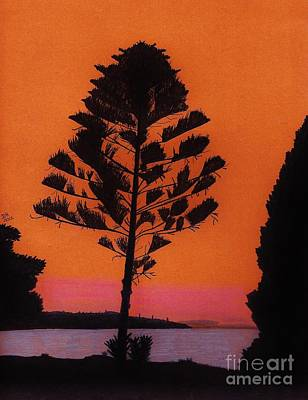 Poster featuring the drawing Lake Sunset by D Hackett