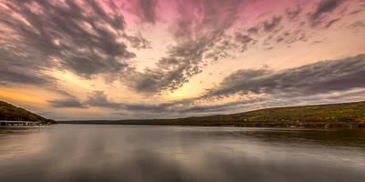 Lake Sunset Poster by Gary Fossaceca