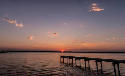Lake Sunset Over Pier Poster