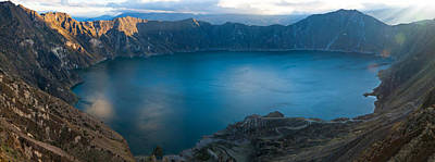 Lake Surrounded By Mountains, Quilotoa Poster