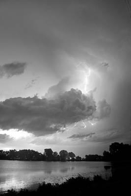 Lake Thunder Cell Lightning Burst Bw Poster