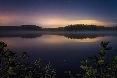 Lake View At Night Poster by Teemu Tretjakov