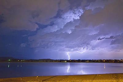 Lake View Lightning Thunderstorm Poster by James BO  Insogna