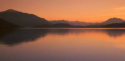 Lake Zug In The Evening Mt Rigi & Mt Poster