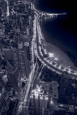 Lakeshore Drive Aloft Bw Cool Toned Poster